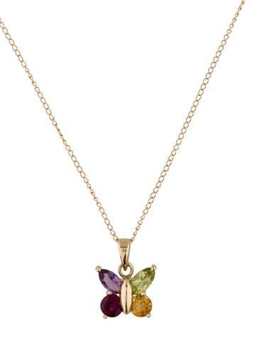 Gemstone Butterfly Pendant Necklace