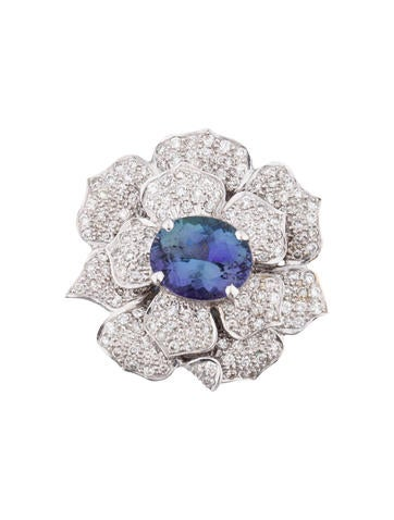 Tanzanite & Diamond Flower Pendant