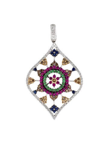 Diamond and Gemstone Flower Pendant
