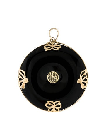 14K Gold and Onyx Pendant