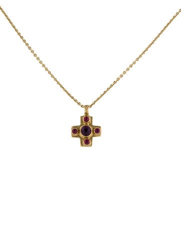 Amethyst and Ruby Pendant Necklace