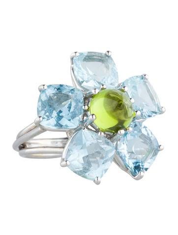 Aquamarine and Peridot Flower Ring