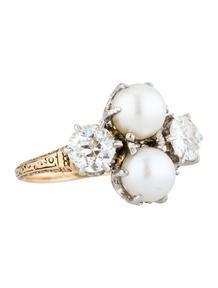 Vintage Diamond Pearl Ring 1.25ctw