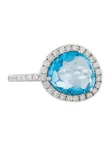 3.05ctw Topaz & Diamond Halo Ring