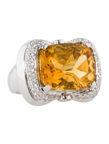 8.70ctw Citrine and Diamond Ring