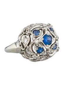 Sapphire & Diamond Dome Ring