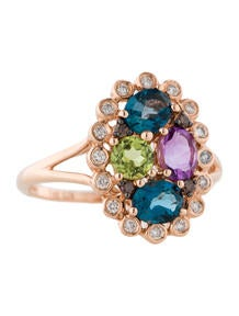 Peridot, Topaz, Amethyst and Diamond Ring