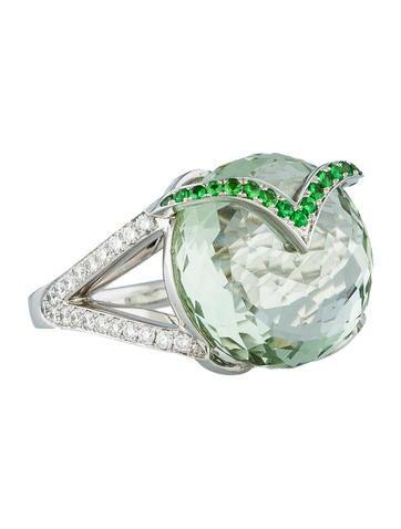 13.17ctw Quartz, Garnet & Diamond Ring