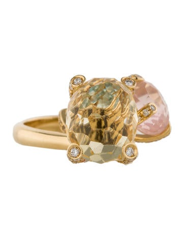 12.50ctw Dangling Citrine Ring with Diamonds