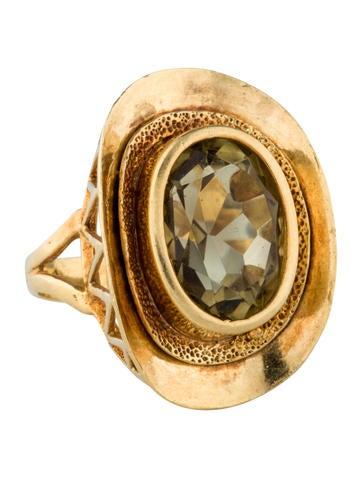 Lemon Quartz Shield Ring
