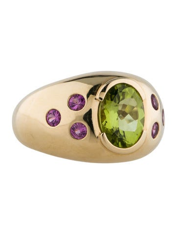 14K Peridot and Pink Sapphire Ring