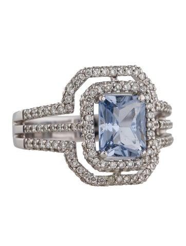 Iolite and Diamond Ring