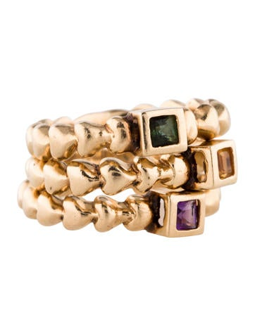 14K Tourmaline, Amethyst and Citrine Stacking Rings