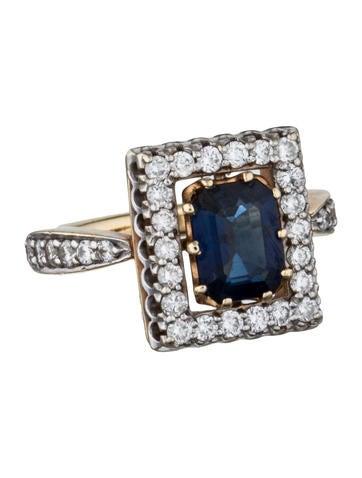 Sapphire & Diamond Frame Ring