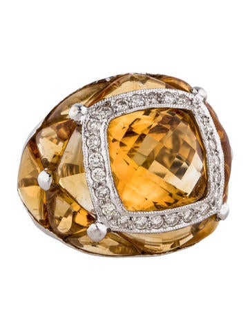 18K Diamond and Citrine Cocktail Ring