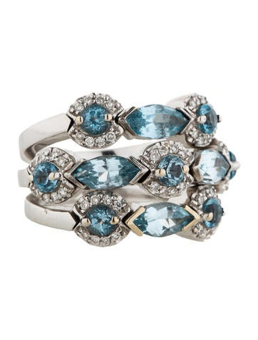 Garavelli Blue Topaz and Diamond Ring