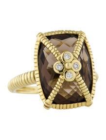 Judith Ripka Diamond and Smoky Quartz Ring