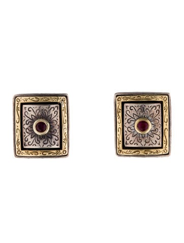 Konstantino Two-Tone Ruby Clip On Earrings