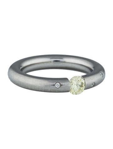 Steven Kretchmer Yellow Diamond Tension Stel Platinum Ring