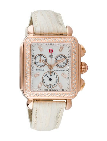 Michele Diamond Deco Chronograph Watch