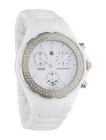 Michele Tahitian White Ceramic Diamond Chronograph Watch