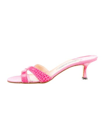 Manolo Blahnik Embossed Slide Sandals