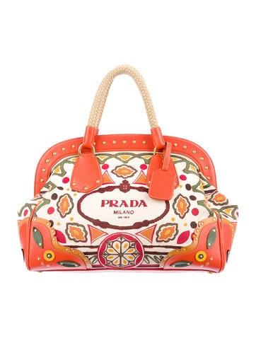 Prada Canapa Stampata Handle Bag