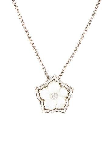 Stephen Dweck Carved Diamond Floral Pendant Necklace
