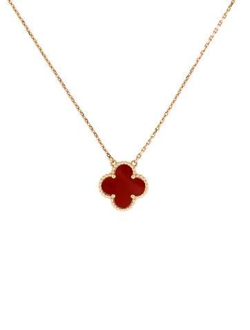 Van Cleef & Arpels Vintage Alhambra Carnelian Pendant Necklace