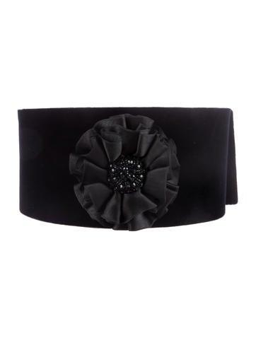Valentino Embellished Velvet Belt