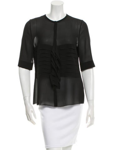 Akris Silk Pleat-Accented Top w/ Tags None