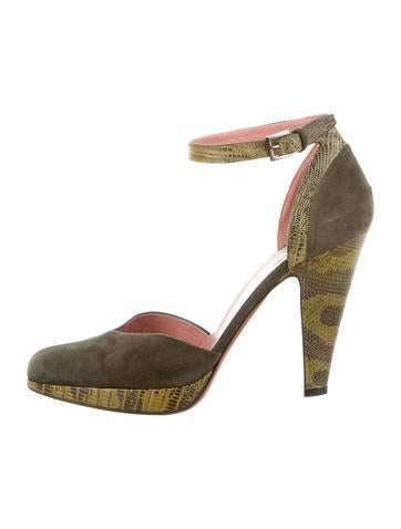 Alaïa Lizard-Trimmed Suede Pumps