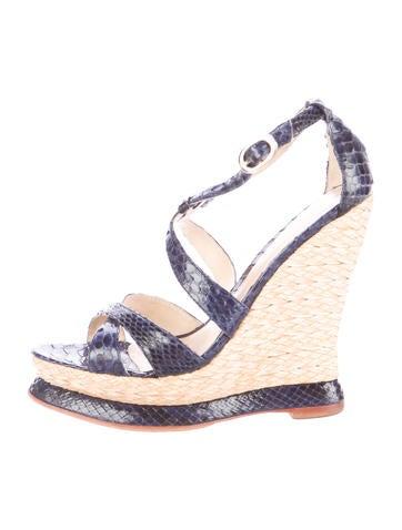 Alexandre Birman Snakeskin Wedge Sandals None
