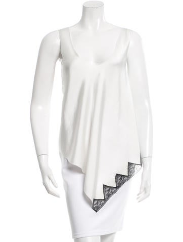 Alexander Wang Lace-Trimmed Asymmetrical Top None