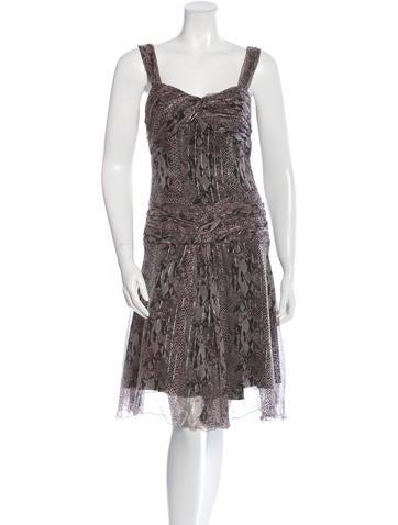 Anna Sui Silk Snakeskin Print Dress