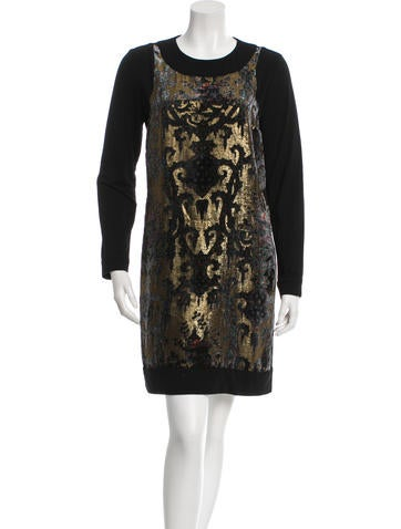 Anna Sui Long Sleeve Brocade Dress