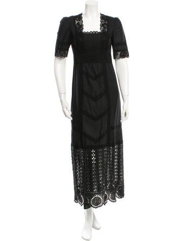 Anna Sui Lace-Accented Maxi Dress None