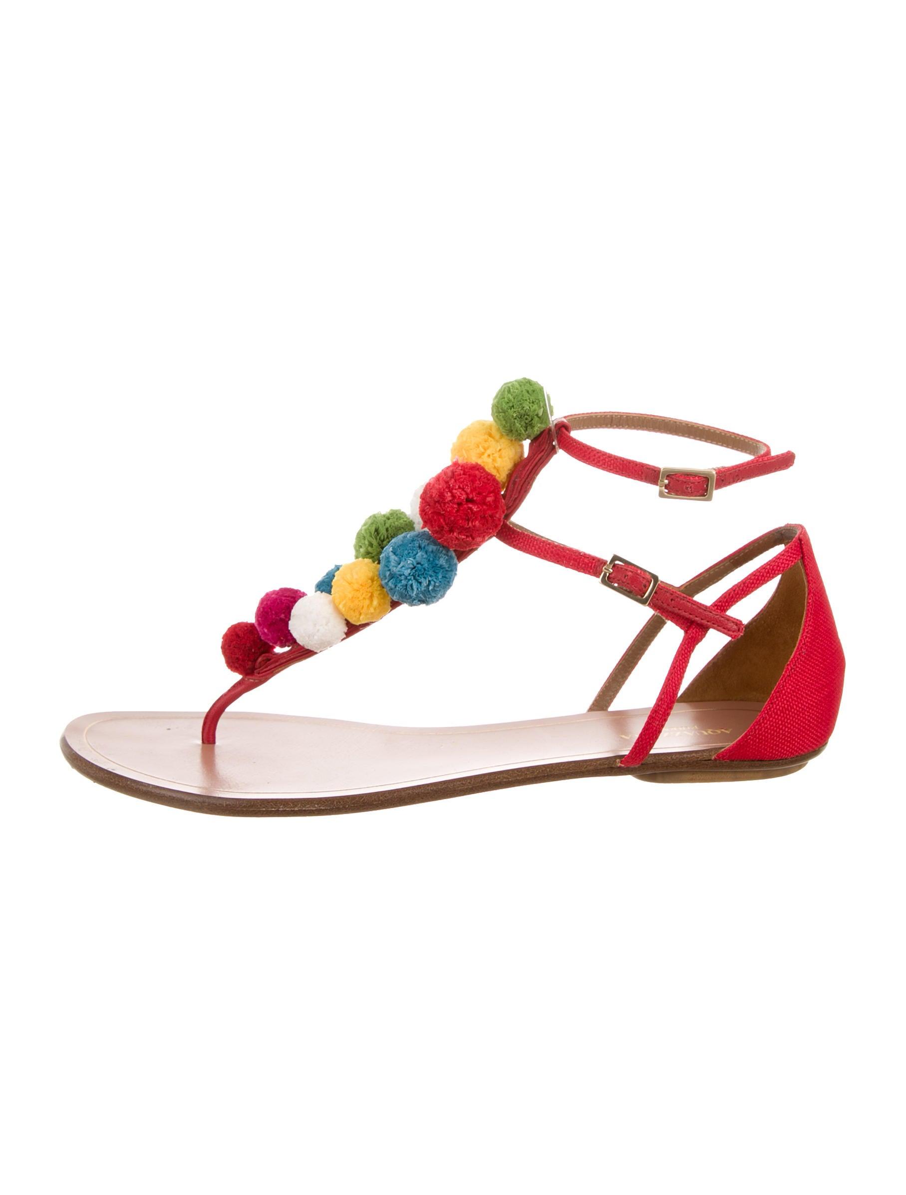 Aquazzura Pom-Pom Ankle Strap Sandals - Shoes