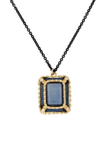 Armenta Old World Kyanite and Colorless Quartz Doublet with Diamonds