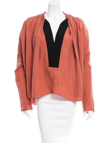 Balenciaga Pleated Long Sleeve Blouse