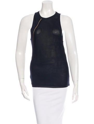 Balenciaga Silk Zip-Trimmed Top None