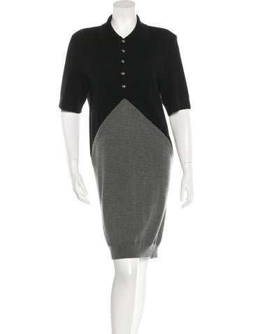 Balenciaga Colorblock Wool Dress None