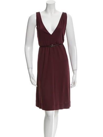 Balenciaga Belted V-Neck Dress None