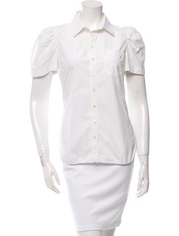 Balenciaga Pleated Button-Up Top None