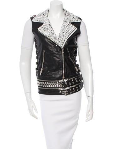 Balmain Stud-Embellished Leather Vest None