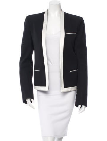 Balmain Satin-Trimmed Collarless Blazer None