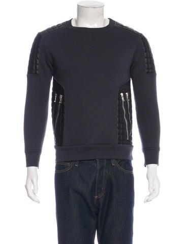 Balmain Quilted Leather-Trim Sweatshirt None