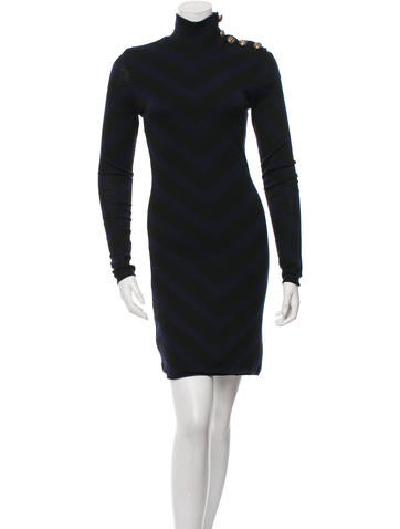 Balmain Wool Turtleneck Dress None