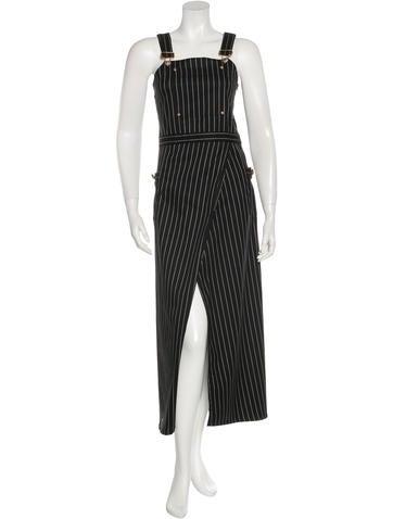Balmain Striped Overalls Maxi Dress None