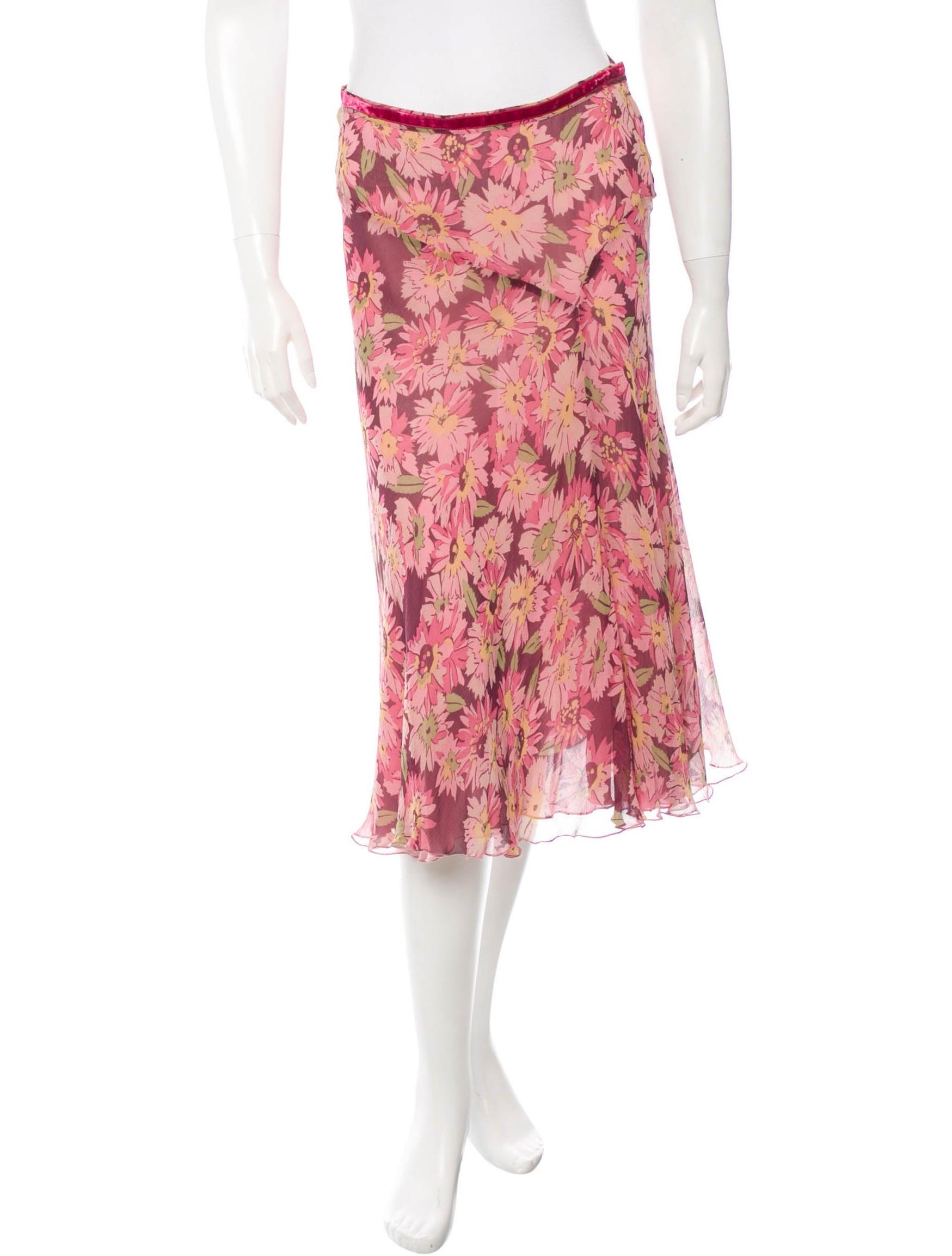 Blumarine Silk A-Line Skirt - Clothing